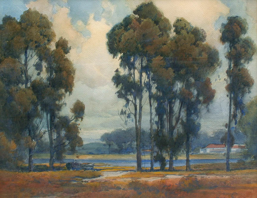 Percy Gray - Eucalyptus with Ranch House by a River